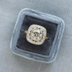 Champagne Diamond Vintage inspired ring   Sofia Kaman