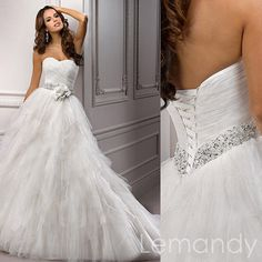 white strapless sweetheart multi-layers tulle princess wedding dress lace-up back. $289.00, via Etsy.