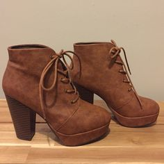 Candies Brown Lace-up Combat Boot Heels Size 6 1/2 Candies Brown Lace-up Combat Boot Heels Size 6 1/2; Worn only once! Candie's Shoes Heeled Boots