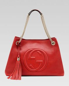 A gorgeous red handbag to love!  Soho Leather Medium Chain-Strap Tote, Red by Gucci at Neiman Marcus.