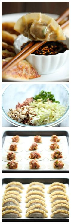 Potstickers - Homemade potstickers are easier to make than you thinkand they taste 10000x better than the store-bought ones! Thai Recipes, Pork Recipes, Asian Recipes, Cooking Recipes, Chinese Recipes, Asian Foods, Healthy Recipes, Cooking Tips, Appetizer Recipes