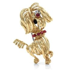 Pre-owned Van Cleef & Arpels 18K Yellow Gold Yorkshire Terrier Brooch (404.955 RUB) ❤ liked on Polyvore featuring jewelry, brooches, 18k gold jewellery, gold brooch, preowned jewelry, 18k jewelry and yellow gold jewelry