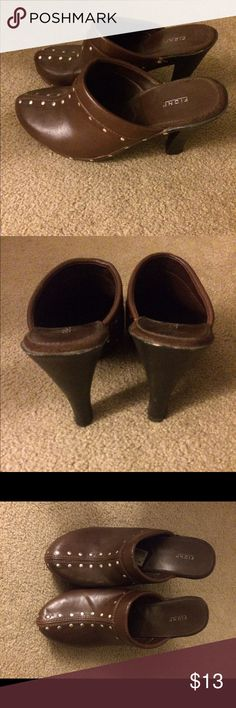 "Shoes Brown heeled ""clog"" like shoes. Silver grommets. Shoes Heels"