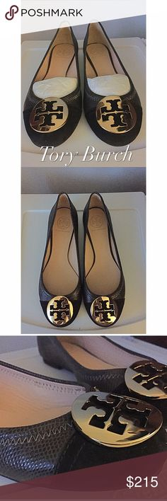 Tory Burch Suede&Leather Flats 🎊NWOT but have bag (not box)🎊 NEVER been worn!! Got them as a gift but they were too small. Size 7.5 runs true to Tory sizing. The toe of the shoe is black suede and the rest of the flat is a black/dark gray patterned leather. Tory Burch Shoes Flats & Loafers