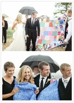 wedding quilt -  asked their guests to mail back a piece of fabric with their RSVPs and nearly everyone did. They then had a quilt made from it that they used on their wedding day both as a photo backdrop and at their ceremony.