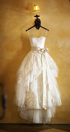 delicate layered wedding dress.