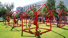 Interactive Installation, Interactive Art, Installation Art, Art Installations, Urban Furniture, Street Furniture, Office Furniture, Casa Lego, Parque Linear