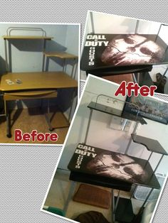 Call of duty desk for a teen boy's room. Spray paint wood, mod podge poster cut out onto desktop and apply polyurethane to seal it.