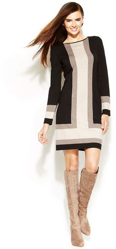 INC International Concepts Long-Sleeve Colorblock Sweater Dress is on sale now for - 25 % !