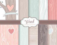 Wood grain digital Paper pack Rustic Wood pattern by GraphicMarket
