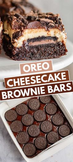 Cheesecake Brownie Bars, Brownie Desserts, Sweet Desserts, Holiday Desserts, Brownie Recipes, Easy Desserts, Delicious Desserts, Oreo Bars, Brownies With Oreos