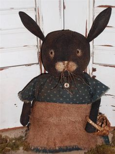 Primitive FOLK ART Grungy painted early *  BEATRICE BUNNY *  RABBIT STUMPY Doll
