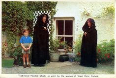 Traditional Hooded Cloaks as worn by the women of West Cork, Ireland    Postcard Posted 1967