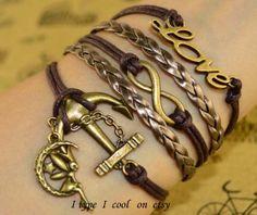Handwoven anchor bracelet Infinite charm bracelet by itypeicool, $4.99
