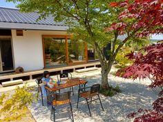 Courtyard House, Facade House, Small Home Gyms, Japanese Style House, Garden Design, House Design, Outdoor Furniture Sets, Outdoor Decor, Farm Gardens