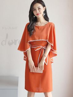 0815dc47d8aa Round neck 5 minutes sleeve pure color butterfly knot Cape sleeve elegance  fashion date one piece 12886304 - Party dresses. Cape Sleeve DressElegance  ...