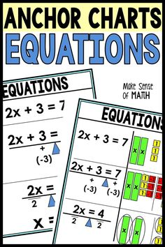 These solving equations anchor charts are perfect for your 6th grade math, 7th grade math, 8th grade math, and middle school math classroom. See Algebra and Algebra tiles to solve equations with variables on one side and equations with variables on both sides. Perfect for math posters or personal reference sheets. #makesenseofmath Seventh Grade Math, Eighth Grade, Teaching Secondary, Secondary Math, Fun Math Activities, Math Resources, Math Posters Middle School, Solving Equations, Math Classroom