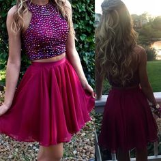 Homecoming Dresses,Two Pieces Beaded Short Prom Dresses,Homecoming Dresses,Sparkly