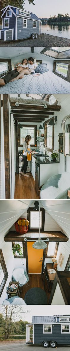 A custom tiny house on wheels in Oregon City, Oregon. Shared and built by Heirloom Custom Tiny Homes.