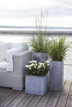 Se årets nye krukker til terrassen - Floor Plants - Ideas of Floor Plants - Soft white beach wall mural poster side bench seaside seating concrete gray plant planters pot on light wood customized floor in bedroom . Balcony Garden, Garden Pots, Glass Balcony, Rooftop Garden, Back Gardens, Outdoor Gardens, Plantas Indoor, Beach Wall Murals, Most Beautiful Flowers