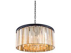 Elegant Lighting Sydney Mocha Brown & Golden Teak Crystal Eight-Lights 31.5'' Wide Pendant Light