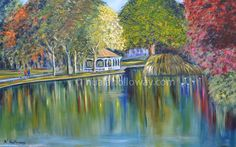 """A Walk on Stephen's Green"" by Nuala Holloway - Oil On Canvas #StephensGreen #Dublin #Art"