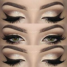sparkly eyeshadow w/ winged eyeliner | makeup