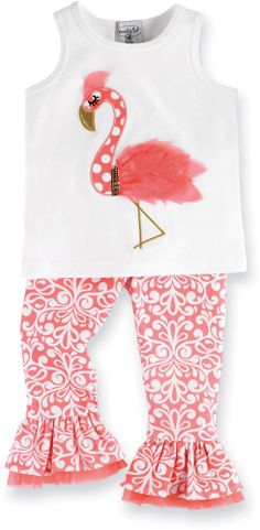 Great outfit for the summer.Mud Pie Baby Toddler Flamingo Top and Pants Set