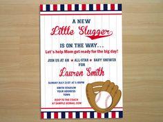 Baseball Baby Shower Invitation  Digital File by SquigglesDesigns, $10.00