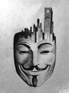 V for Vendetta 2 by themajord on DeviantArt Cool Art Drawings, Pencil Art Drawings, Art Drawings Sketches, Anonymous Tattoo, Anonymous Mask, Tattoo Mascara, Tiki Maske, V Pour Vendetta, Pencil Sketch Portrait