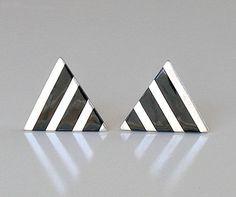 Vintage Sterling Silver & Black Onyx Earrings, Abstract Geometric Striped Earrings, MOD Earrings, Clip On Earrings. by retrogroovie on Etsy