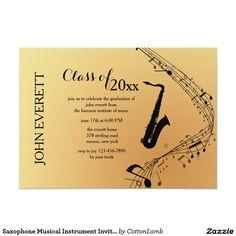 Saxophone Musical Instrument Invitation