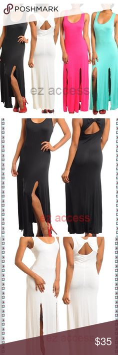 """New maxi dress slits back bow summer sun dress ✏️price is firm unless bundled. ⭐️stunningGorgeous stretchy long maxidress * sleeveless * keyholeback * 3 front 24"""" slits * It is made of lightweightsummer airy tee fabric.not lined so need slip /depends on yourchoose. * MEASUREMENTS: Total Length=56""""-57"""" depends upon size  🚩please ask for color and size availability  before purchase. Boutique Dresses Maxi"""