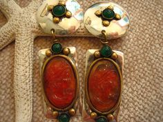 Vintage Louis Booth Sterling Silver Amber Cameo by justayayadesign, $68.00