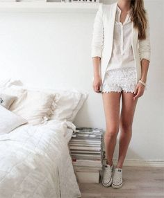 """Check out Suzanne Derksen's """"All White. Lace shorts with Converse."""" Decalz @Lockerz"""
