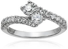 IGI Certified 14k White Gold Diamond Two Stone Plus Engagement Ring (1cttw, H-I Color, I1-I2 Clarity), Size 7
