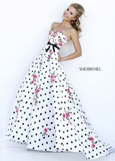 One of our faves for Prom 2015 - Floral Polka Dot Ball Gown Dress - RissyRoos.com - Sherri Hill 32202