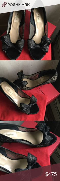 """Valentino Lace and Satin heels with bow Valentino open toe lace and satin heels with bow.  Heel measures 2.5"""".  Excellent condition, worn twice. 100% Authentic Valentino Shoes Heels"""