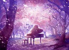 """Résultat de recherche d'images pour """"peinture à l'huile piano dans une foret"""""""