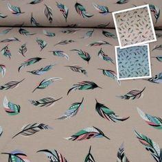 Jerseystoff Vogelfedern