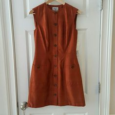 "NWT Carmen Marc Valvo Dress Beautiful deep burnt orange color; length shoulder to hem 35""; can also be worn as a tunic ; fully lined Carmen Marc Valvo Dresses Mini"