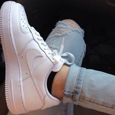 180f487c03e white nike air force one shoes ✓ black no-show socks ✓ light-wash ripped  jeans