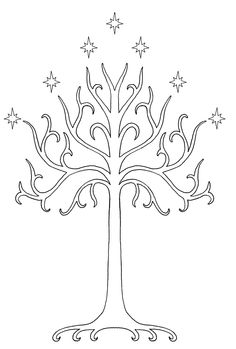an outline of the White Tree of Gondor, I'm such a nerd, I have considered it in white ink! lol