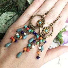 Bohemian long acrylic beads tassel drop earrings jewelry 2018 Boho ethnic round sun flower pendant dangle earrings for women Long Tassel Earrings, Round Earrings, Chandelier Earrings, Women's Earrings, Earring Box, Earring Tree, Bohemian Jewelry, Luxury Jewelry, Fashion Earrings