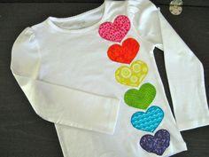 Valentine's Day Rainbow Heart Applique Shirt Girls Short Sleeve Long Sleeve pink on Etsy, $23.00