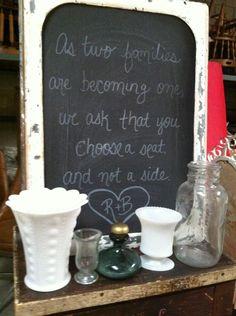 Rose's Wedding Accessories- Chalkboards and Milk Glass@ LaurenSharon Vintage Shop Rentals http://VintageRentalsSanDiego.com