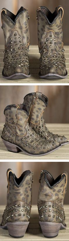 I need you in my life!!!!Cheetah Spotted Leather Studded Ankle Boots