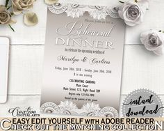Rehearsal Dinner Invitation Editable in Traditional Lace Bridal Shower Brown And Silver Theme, shower rehearsal, party stuff - Z2DRE #bridalshower #bride-to-be #bridetobe