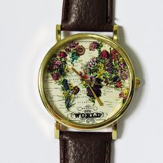 The World in Full Bloom Map Floral Watch, Vintage Style Leather Watch, Women Watches,Mens Watch, Boyfriend Watch, by FreeForme on Etsy