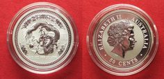 2000 Australien 1/2 oz pure silver YEAR OF THE DRAGON 50 Cents 2000 BU # 94423 BU (MS65-70)